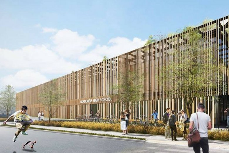 Wizualizacja budynku szkoły na Wilanowie.