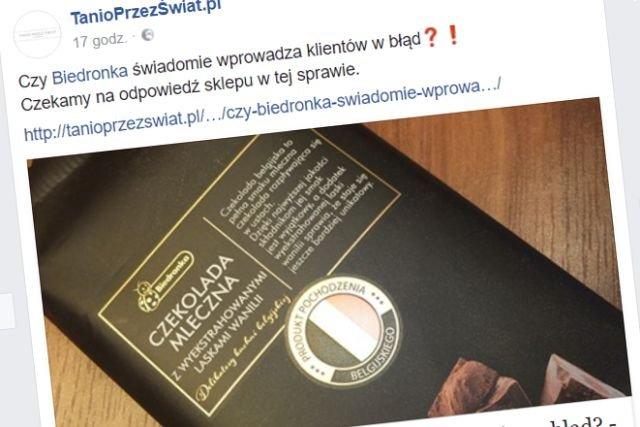 """Promocja w Biedronce wydawała się ciekawa – do czasu, gdy okazało się, iż jedna z czekolad w gamie """"belgijskich"""" wcale nie pochodzi z Belgii."""