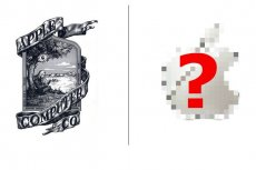 Takie logo w 1976 miała firma... Apple. Obecnie jest to jednolity symbol jabłka, bez cieni. W przeszłości było też w kolorowe paski