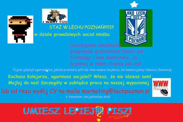 Lech Poznań opublikował na Facebooku nietypowe ogłoszenie o staż