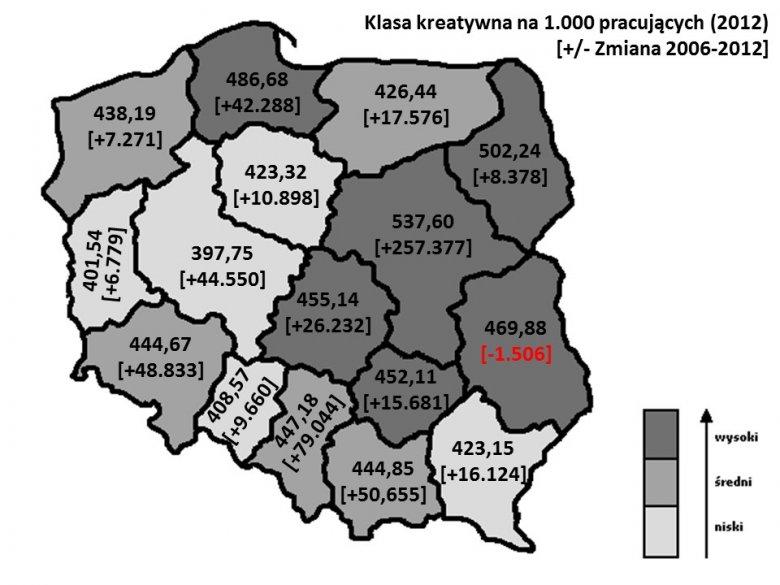 Zmiany liczebności klasy kreatywnej w polskich województwach, 2006-2012.