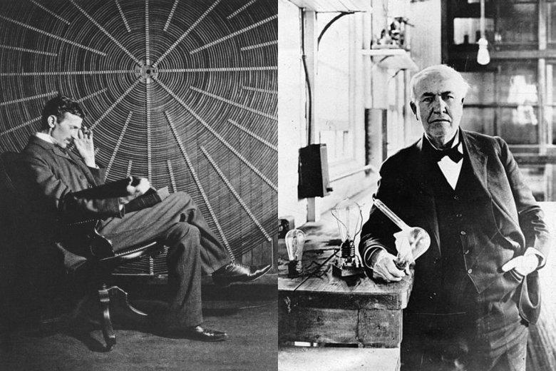 Nikola Tesla (po lewej) i Thomas Edison (po prawej) początkowo byli sobą zafascynowani. Wkrótce zainteresowanie przerodziło się w ogromną niechęć.